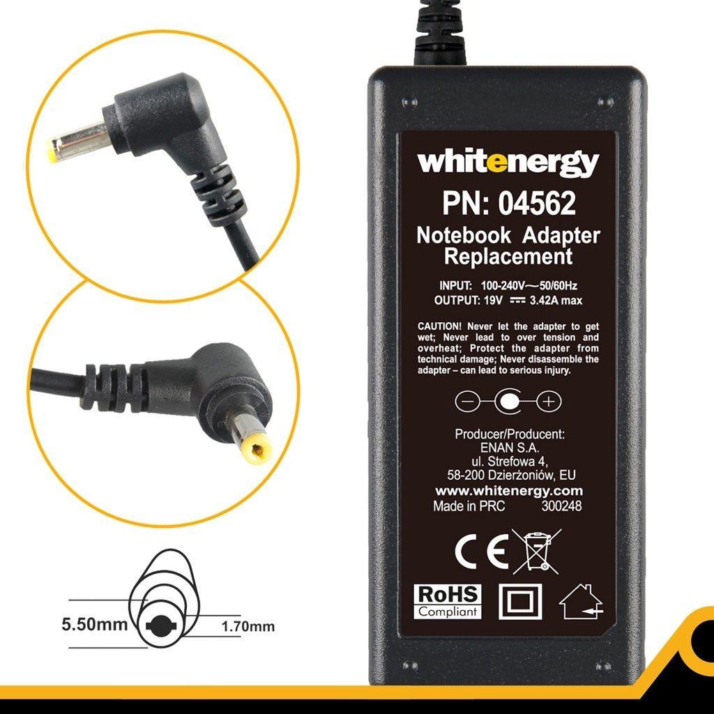 Whitenergy Zasilacz 19V   3.42A 65W wtyk 5.5*1.7 Acer (04562)