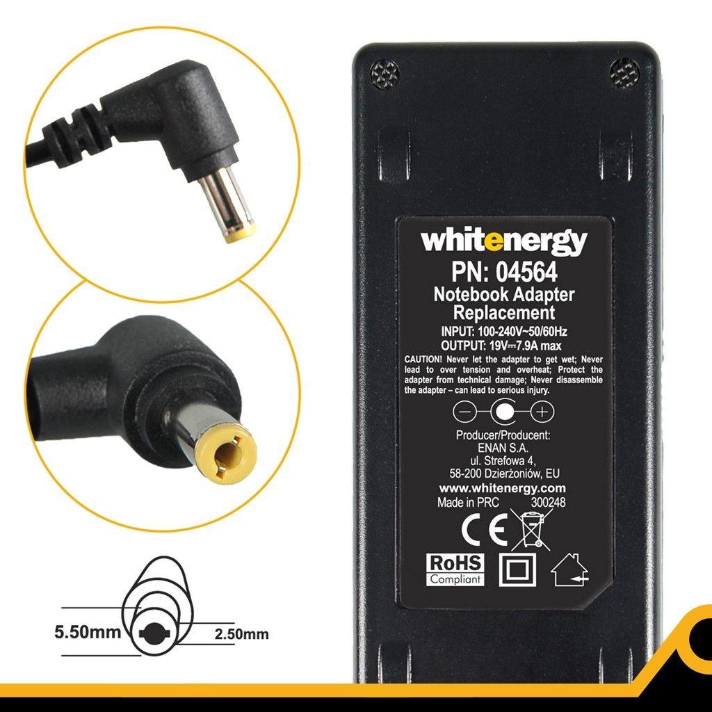Whitenergy Zasilacz 04564 19V | 7.9A 150W wtyk 5.5*2.5