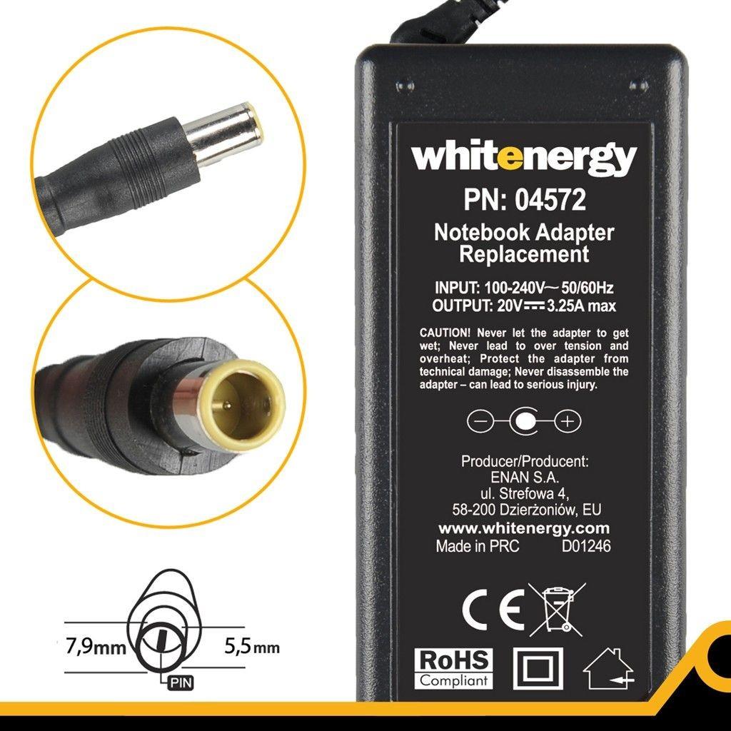 Whitenergy Zasilacz 20V | 3.25A 65W wtyk 7.9*5.5mm + pin IBM 04572