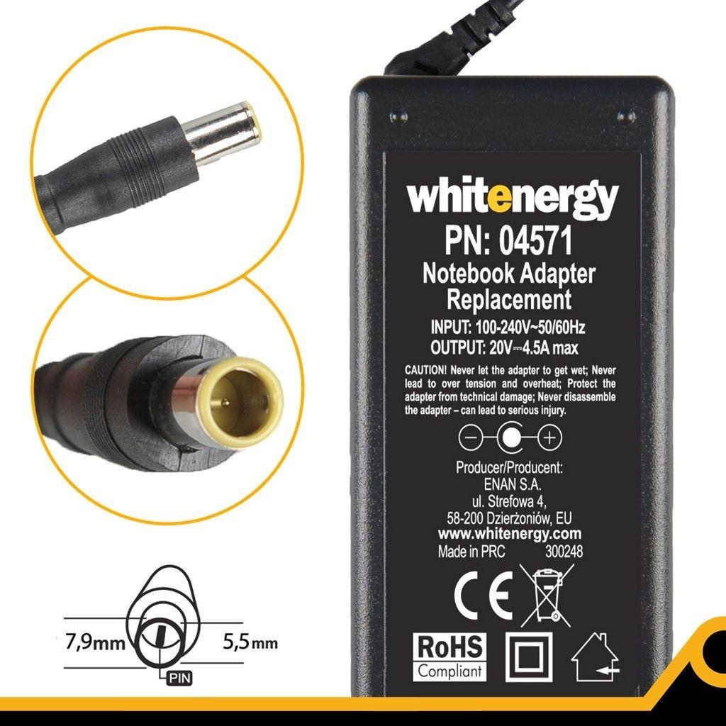 Whitenergy Zasilacz 4571 20V | 4.5A 90W wtyk 7.9*5.5mm + pin IBM