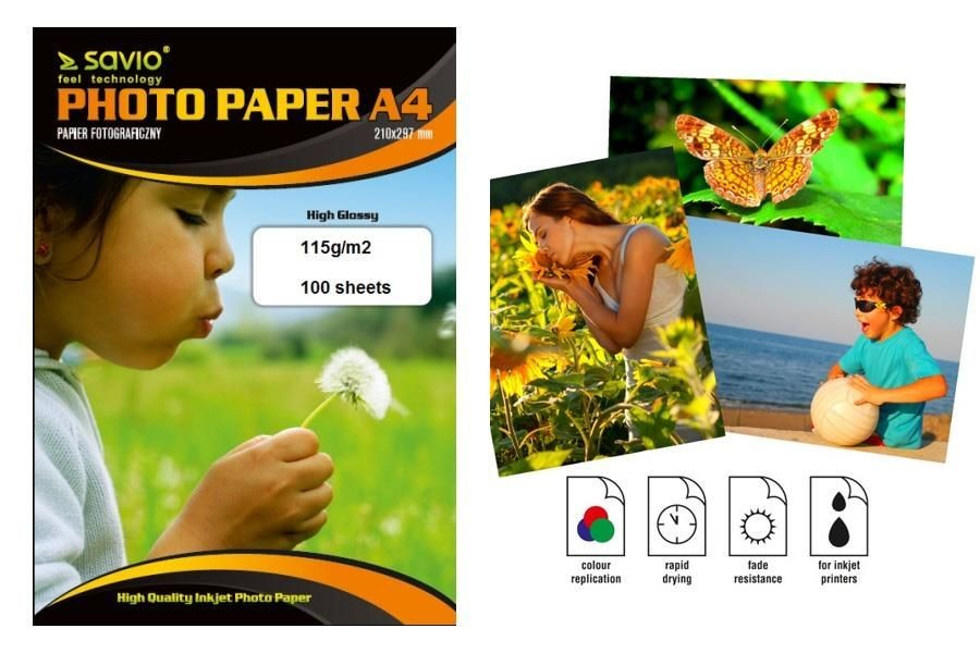 Savio  Papier foto PA-13 A4 115g/m2 100 szt. błysk