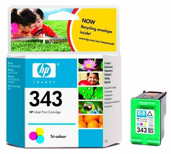 HP 343 original ink cartridge tri-colour standard capacity 7ml
