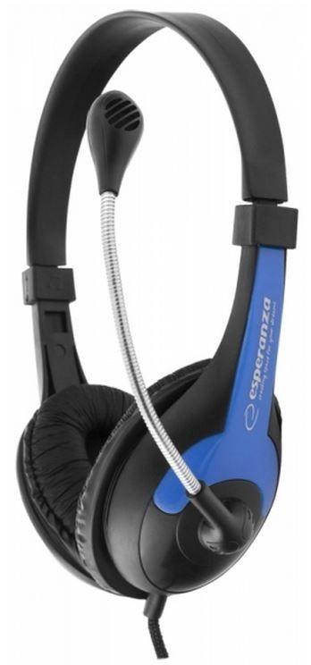 Esperanza Słuchawki audio stereo EH158B z regulacją głośności, niebieskie