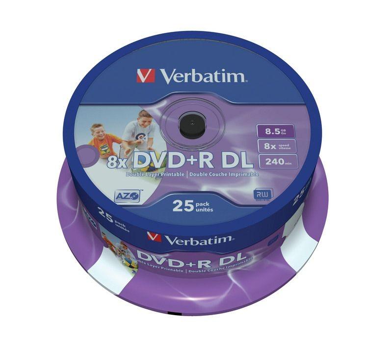 Verbatim DVD+R (8x) 8,5GB DoubleLayer CB 25 PRINTABLE 43667