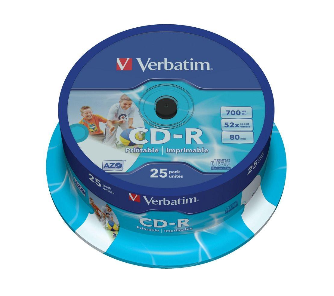 Verbatim CD-R 52x 700MB 25P CB Printable 43439