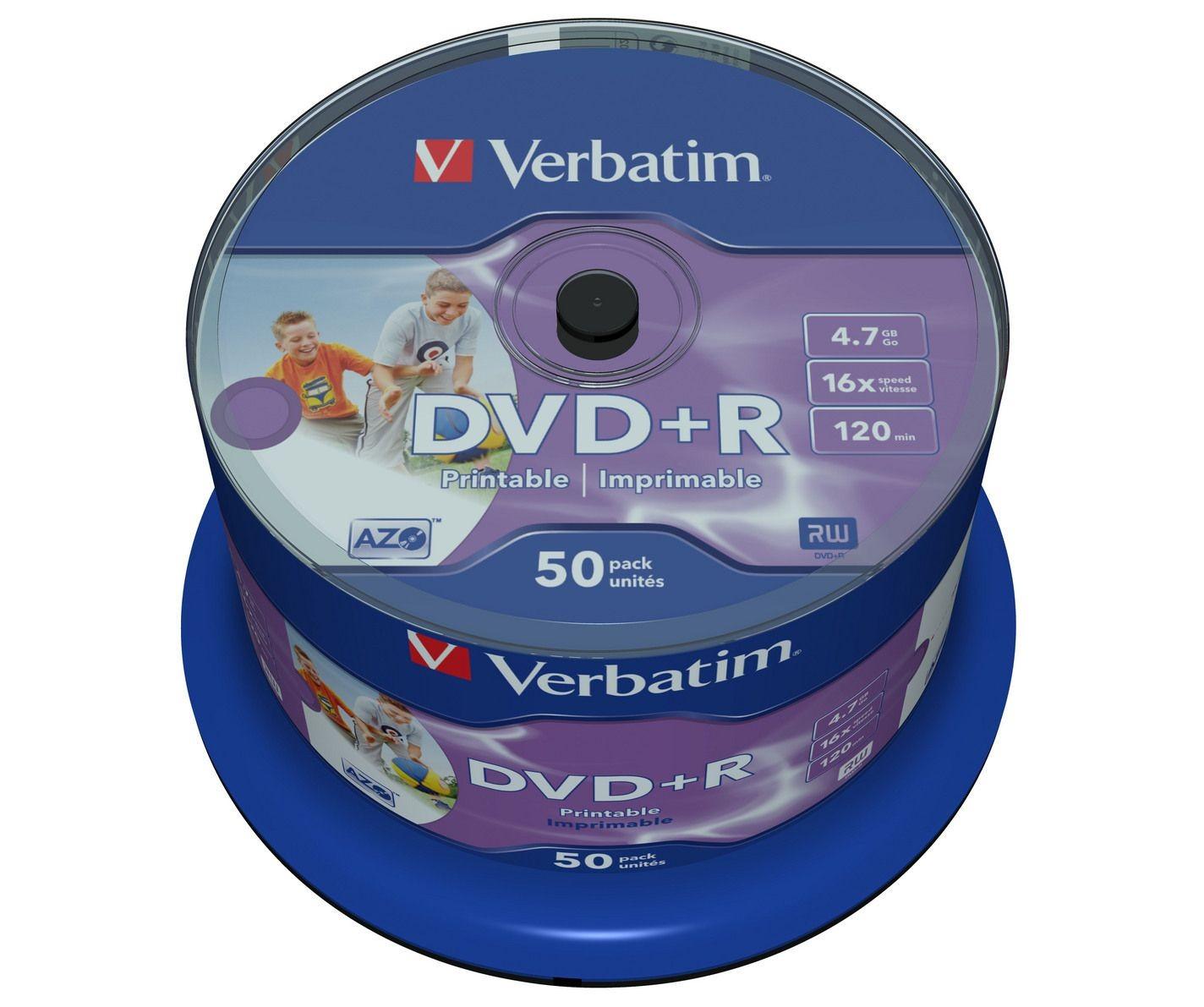 Verbatim DVD+R 16x 4.7GB 50P CB Printable NO ID 43512