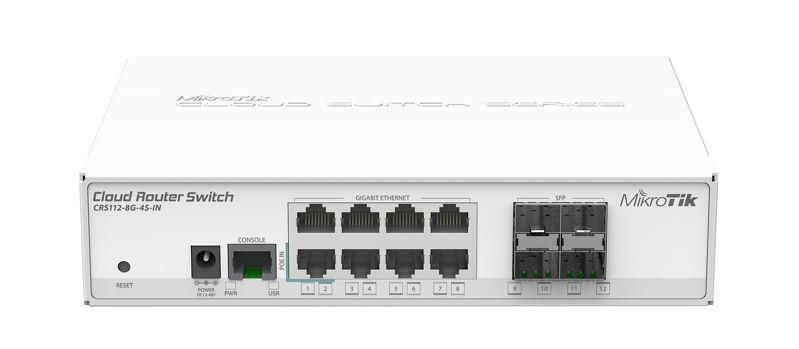 MikroTik Cloud Router Switch CRS112-8G-4S-IN 400MHZ, 128MB, 8XGE, 4XSFP, 1XSERIAL -RJ45, L5