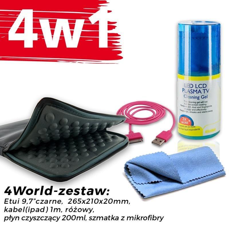 4World Zestaw Etui Tablet 9.7'' Czarne + Kabel 1m Różowy + Czyścik
