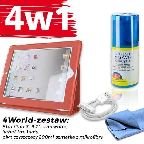 4World Zestaw Etui iPad 3 Czerwone + Kabel 1m Biały + Czyścik