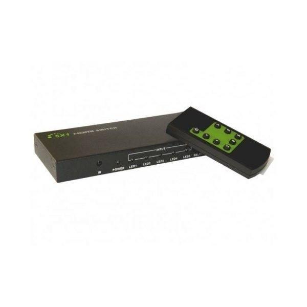 Techly Przełącznik HDMI 5/1 z pilotem, 4K2K 3D, czarny