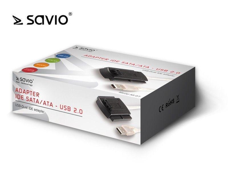 Elmak SAVIO AK-07 Adapter IDE SATA/ATA - USB 2.0, Plug & Play, dodatkowe zasilanie w zestawie