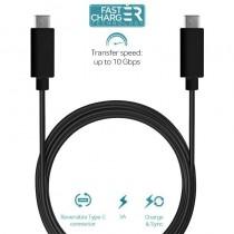 PURO Kabel USB-C 3.1 na USB-C 3.1 do ładowania & synchronizacji danych, 3A, 10 Gbps, 1 m (czarny)