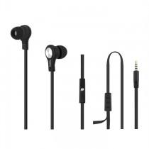 Qoltec Słuchawki douszne + mikrofon   czarne   1,2m