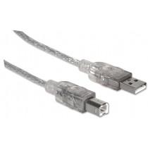 Manhattan kabel USB 2.0 A-B M/M 1,8m (srebrny)