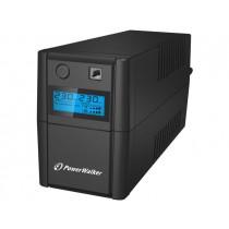 PowerWalker UPS LINE-INTERACTIVE 650VA, 2X SCHUKO, RJ11 IN/OUT, USB, LCD