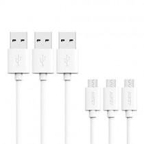 AUKEY CB-D10 White zestaw 3 szt. szybkich kabli Quick Charge micro USB-USB | 3x1.2m | 5A | 480 Mbps