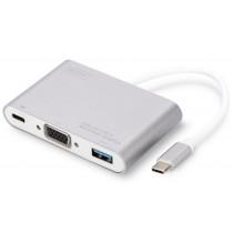 Digitus Multi Adapter 1xVGA 1080p FHD, 1xUSB Typ C PD, 1xUSB A na USB 3.0 Typ C, aluminiowy