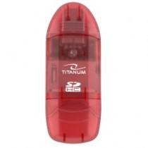 Esperanza TITANUM TA101R - Czytnik Kart SDHC/MiniSDHC/MicroSDHC/RS/MM CZERWONY USB 2.0