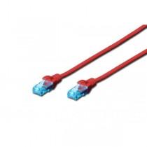 Digitus Kabel patch cord UTP, CAT.5E, czerwony, 0.5m, 15 LGW