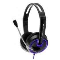 Esperanza Słuchawki stereo z regulacją głośności i mikrofonem - fioletowe