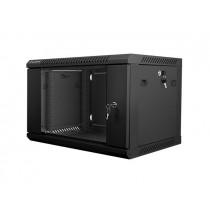Lanberg szafa wisząca rack 19'' 6U 600x450mm czarna (drzwi szklane)